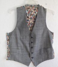"Vintage Windowpane Tweed Mens Wool Fancy Lining Suit Vest M L .. Chest 42"""