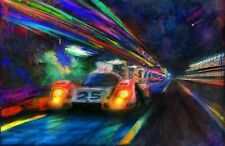 Automotive Motorsport Car Auto Art 1970 Porsche 917 Vic Elford Le Mans on CANVAS