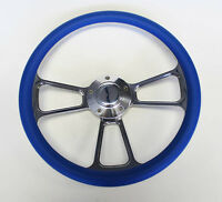 "New Nova Chevelle Steering Wheel Blue Grip 14"" Shallow Dish Billet Polished"
