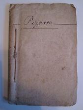ANTIQUE 1827 BOSTON MA THEATRE PLAYBILL PIZARRO SHERIDAN ORIGINAL CAST LIST RARE