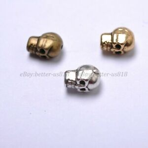 50Pcs Tibetan Silver Skull Charms Loose Spacer Beads 9X6MM A41