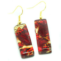 Murano Glass Drop Earrings Red and Gold Handmade Authentic Millefiori Venetian