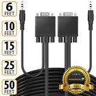 Fosmon 6 10 15 25 50 FT PC TV HD 1080P VGA Cable Adapter Cord w/ 3.5mm Aux Audio
