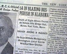 CLANTON Alabama Gasoline Explosion BUS TRAGEDY Disaster 1942 Old WWII Newspaper