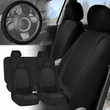 Black Seat Covers with Leather Steering Wheel Cover for Auto Car SUV