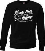 'Rusty Nuts Garage Services' sweatshirt. Classic car Golf GTi