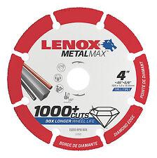"Lenox 4"" x 5/8"" Hole Metal Max Diamond Edge Cut Off Wheel,1,000+cuts #1972920"