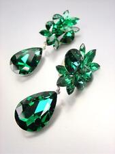 STUNNING Emerald Green Czech Crystals Dangle CLIP Earrings Prom Pageant Bridal