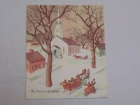 Christmas Greeting Card Old Vintage White Church Sleigh Ride Horses Village USA