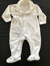 Babaluno Baby White & Silver Wish Upon A Star Velour Footie - 3-6 Months