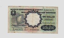 Malaya British Borneo $ 1  1959 BB  VG  pick 8     Lotto 398