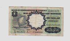 Malaya British Borneo $ 1  1959 BB  VG  pick 8     Lotto 398