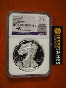 2021 W PROOF SILVER EAGLE NGC PF70 FIRST DAY OF ISSUE MERCANTI ENGRAVER SERIES