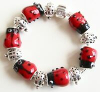 Red Ladybug LadyBird Strawberry European Style Charm Bracelet Gift for Girls