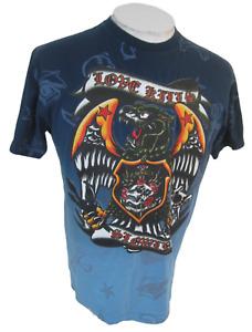 Five AR T Shirt Love Kills Slowly sz L cotton p2p 21 skull eagle roses blue