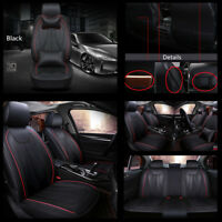BLACK Deluxe PU Leather Seat Cover 5 Sear Car  Front + Rear Seat Cover w/ Pillow