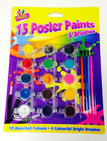 New 15 Poster Pot Paints & 4 Brushes Kids Art Craft Artist Painting Drawing Set