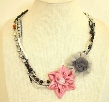 Multi Strand Necklace Grey Pink Floral Crystal Stone Chain Upcycled Handmade