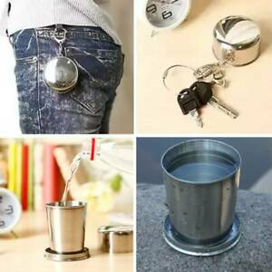 Drinking Portable Cup Stainless Steel Key Chain Water Bottle Travel Toiletries C