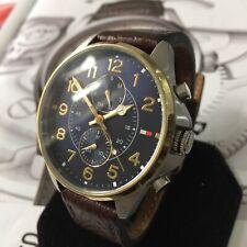 Mens Tommy Hilfiger Designer Watch Blue Steel Leather Genuine 1791275 DEAN
