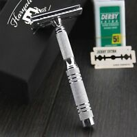 TRAVEL STYLE VINTAGE SAFETY RAZOR  DOUBLE EDGE  SHAVING BLADES SHAVER IN STEEL