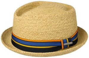 Stetson Sun Guard Summer Raffia Straw Hat Pork Pie Hat Cantalo Diamond 7 Natural