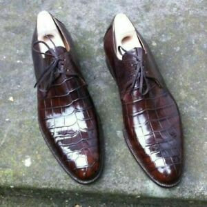 New Handmade Derby Men's Dress Shoes, Crocodile Embossed Calfskin Leather Shoes