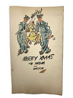 Vtg Wilson Cutler Illustration Artist Original Christmas Card To Mom Cops Police