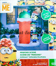 *NEW* 7 ft Christmas Minions Scene-Climbing Chimney-Airblown-Inflatable-Presents