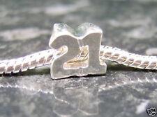 Silver plated 21 21st birthday EUROPEAN charm bead