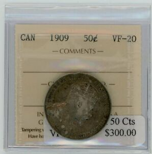 1909 Canada Fifty Cents - ICCS VF-20