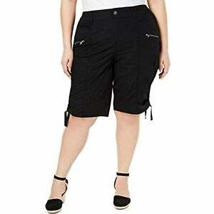 MSRP $53 Style & Co. Womens Plus Mid Rise Cargo Bermuda Shorts Black Size 22W