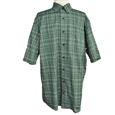 Cabelas Men LT Tall Outfitters Series Shirt Regular Cotton Button Front SS Green