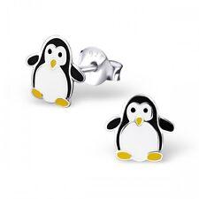 Girls Childrens Sterling Silver Black Penguin Stud Earrings - Boxed