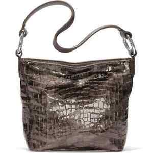 Brighton Cher Italian Glossy Bronze Croco-Embossed Leather Soft Shoulder Bag