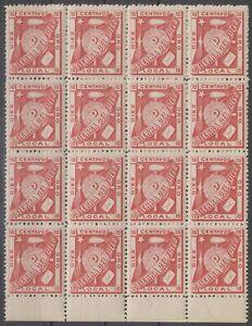 ARGENTINA 1891 LOCAL TIERRA DEL FUEGO Mi 1 MARGINAL BLOCK OF 16 MNH F,VF €960++