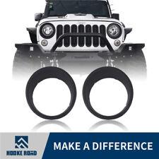 Hooke Road Matte Front Headlight Guard Cover Trim For Jeep Wrangler 07-18 JK