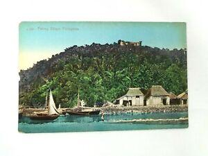 Vintage Postcard Fishing Village Scene Philippines Sail Boats