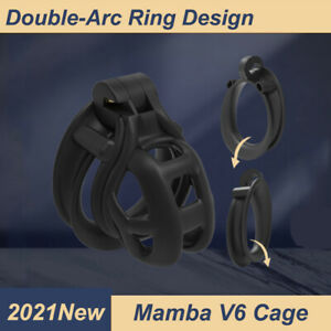 2021 New 3D Printed Mamba V6 Cobra Chastity Cage with 4 Double-Arc Cuff Rings