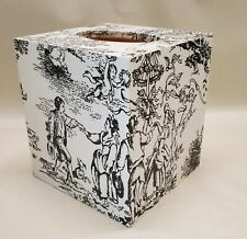 Made To Order, Handmade Decoupage Tissue Box Cover, White & Black French Toile