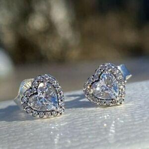 Pandora Genuine Elevated Heart Stud Earrings 298427C01 Silver S925 ALE