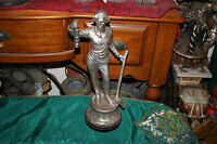 Antique German Spelter Metal Statue-Man Holding Lantern & Axe Pick-Silver Color