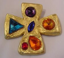 Don-Lin Large Gold Tone Cross with Multi Colored & Sizes Faux Stones Brooch