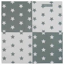 blanc bleu gris inverse étoiles 3 épaisseurs 20 papier serviettes 33x33cm
