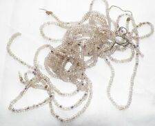 Clear Glass Rocaille Beads 60 Inch Strand Vintage Handbag Jewelry Clothing NOS