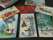 9 VTG.CHRISTMAS CARDS, GREETINGS~WISE MEN,TREE,CANDLE,SLEIG,HORSES,DEER,LOVELY