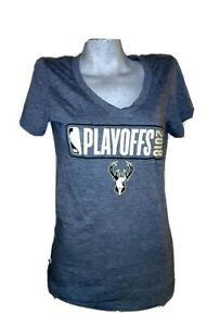 Milwaukee Bucks 2018 NBA PLAYOFFS  New Era V Neck  Women's T Shirt Sz S 36 x 27
