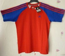Adidas Climate Breathable Cotton 3 Stripes Crew Neck Junior T-Shirt Red & Blue