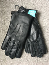 NEW NEXT Mens Black Leather Touchscreen Gloves Large RRP £22 PRESENT GIFT