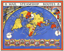 Mail Steamship Routes by MacDonald Gill 1937 75cm x 60cm Quality Art Print